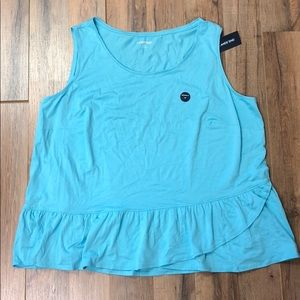 NWT Lands' End Ruffle Easy Tank Turquoise Plus
